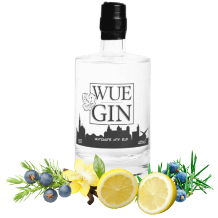 "WueGin Dry Gin Franken ""handcrafted high class Gin"""